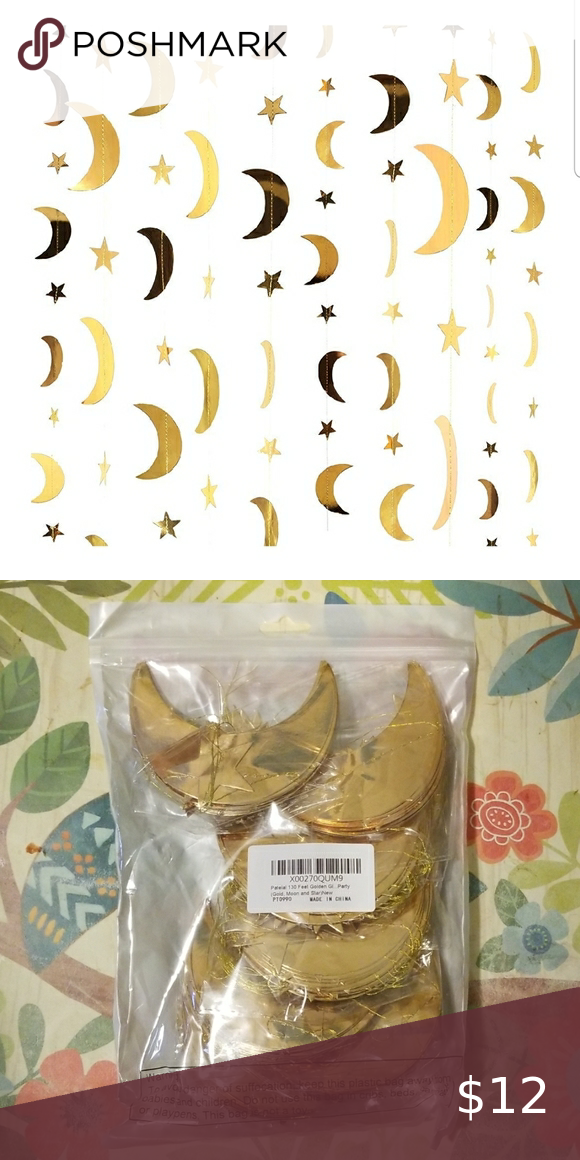 Gold Patelai 130 Feet Golden Glitter Star Paper Garland Set of B