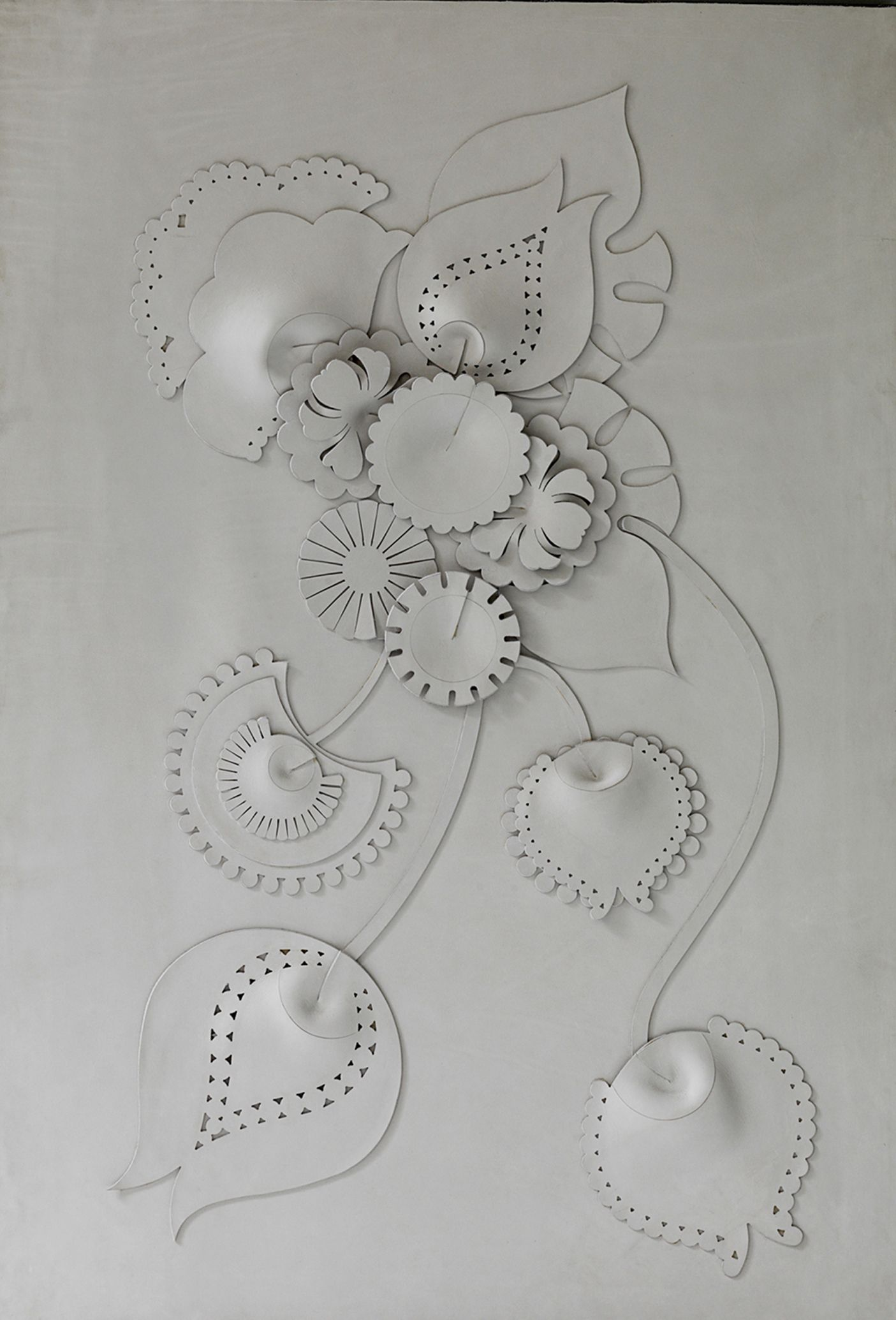 Bespoke global product detail camelia by genevieve bennett a decorative leather wall panel made from hand cut and sculpted leather of the highest