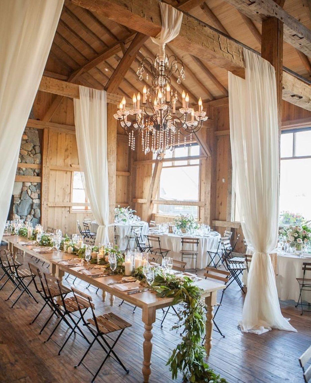 Afternoon Wedding Reception Ideas: Rustic Wedding Venue With Drapes