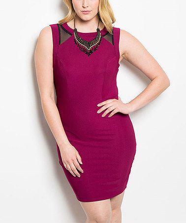 Another great find on #zulily! Burgundy Sheer-Panel Bodycon Dress - Plus #zulilyfinds