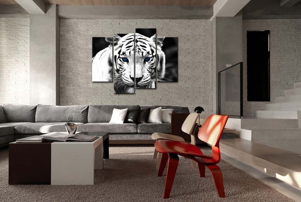 Amazon.com: Black & White 4 Panel Wall Art Painting Blue Eyed Tiger Prints On Canvas The Picture Animal Pictures Oil For Home Modern Decoration Print Decor For Kitchen: Posters & Prints