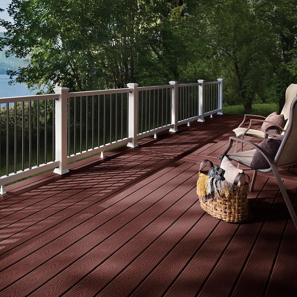 Trex Select 1 In X 5 5 In X 1 Ft Madeira Composite Decking Board Sample Mbs90000 The Home Depot Building A Deck Vinyl Deck Outdoor Flooring Options