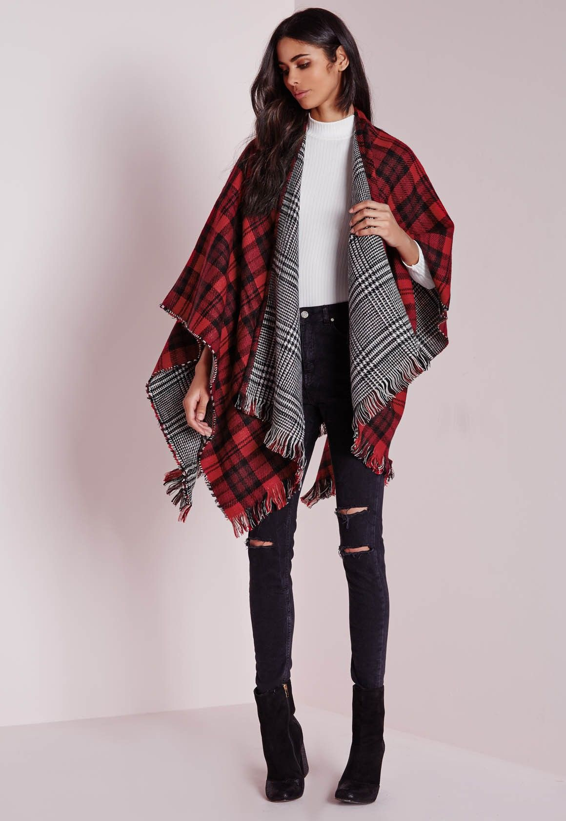 Missguided Reversible Check Blanket Wrap Multi (With