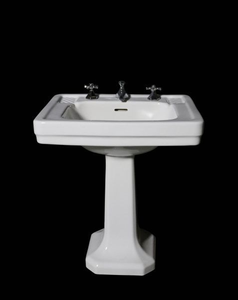Original Art Deco Pedestal Basin With Taps Uk
