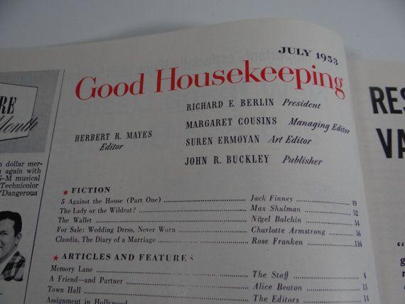 Good Housekeeping July 1953 1950s Magazine by SecondWindShop