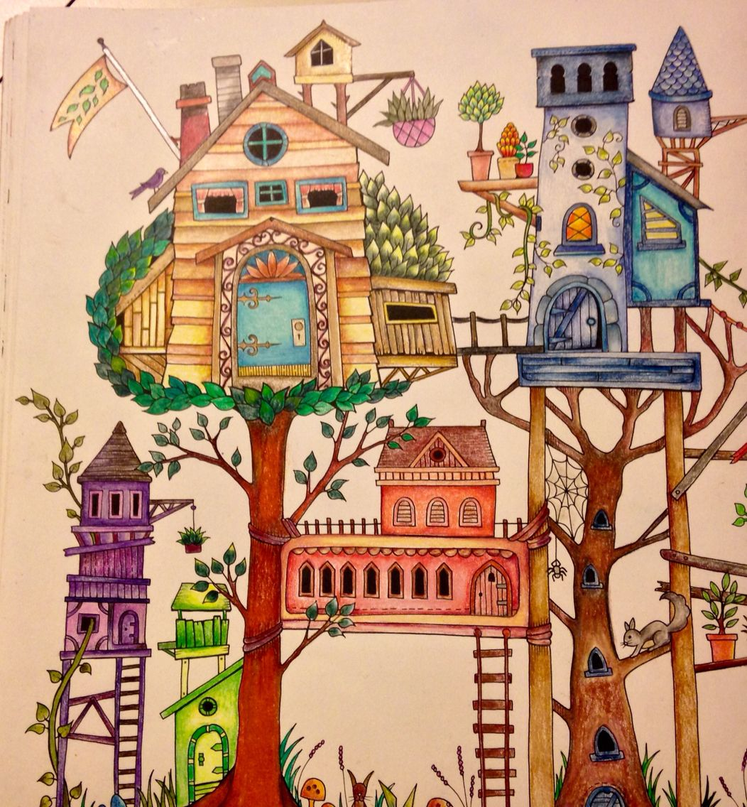 Tree House 1 Coloring - Johanna Basford Enchanted Forest Book Drawing