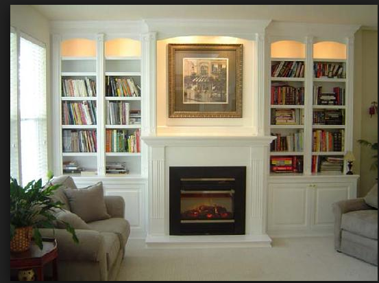 Inset Lighting Built In Around Fireplace Fireplace Bookshelves
