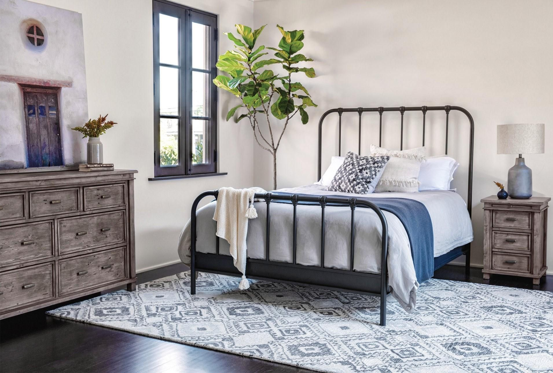 Knox Queen Metal Panel Bed Discount Bedroom Furniture Panel Bed