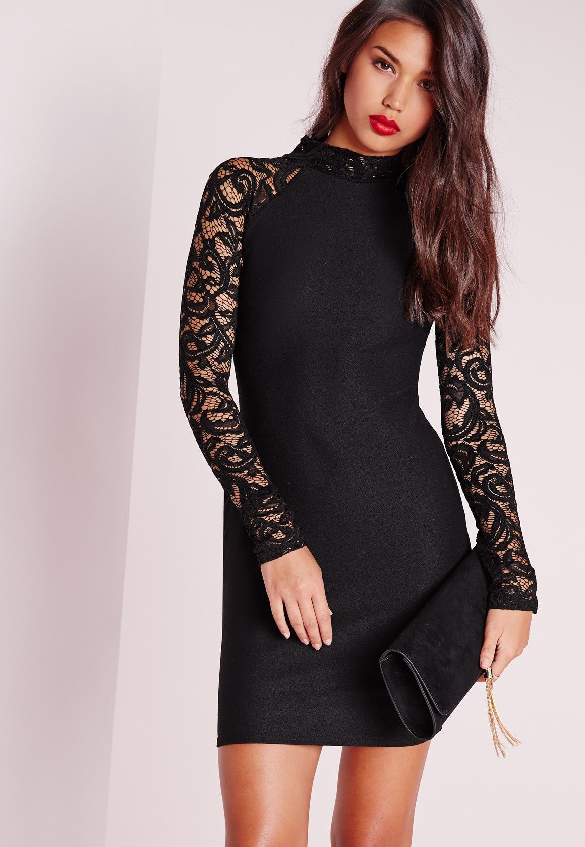 Missguided - Lace Long Sleeve Bodycon Dress Black | my style <3 ...