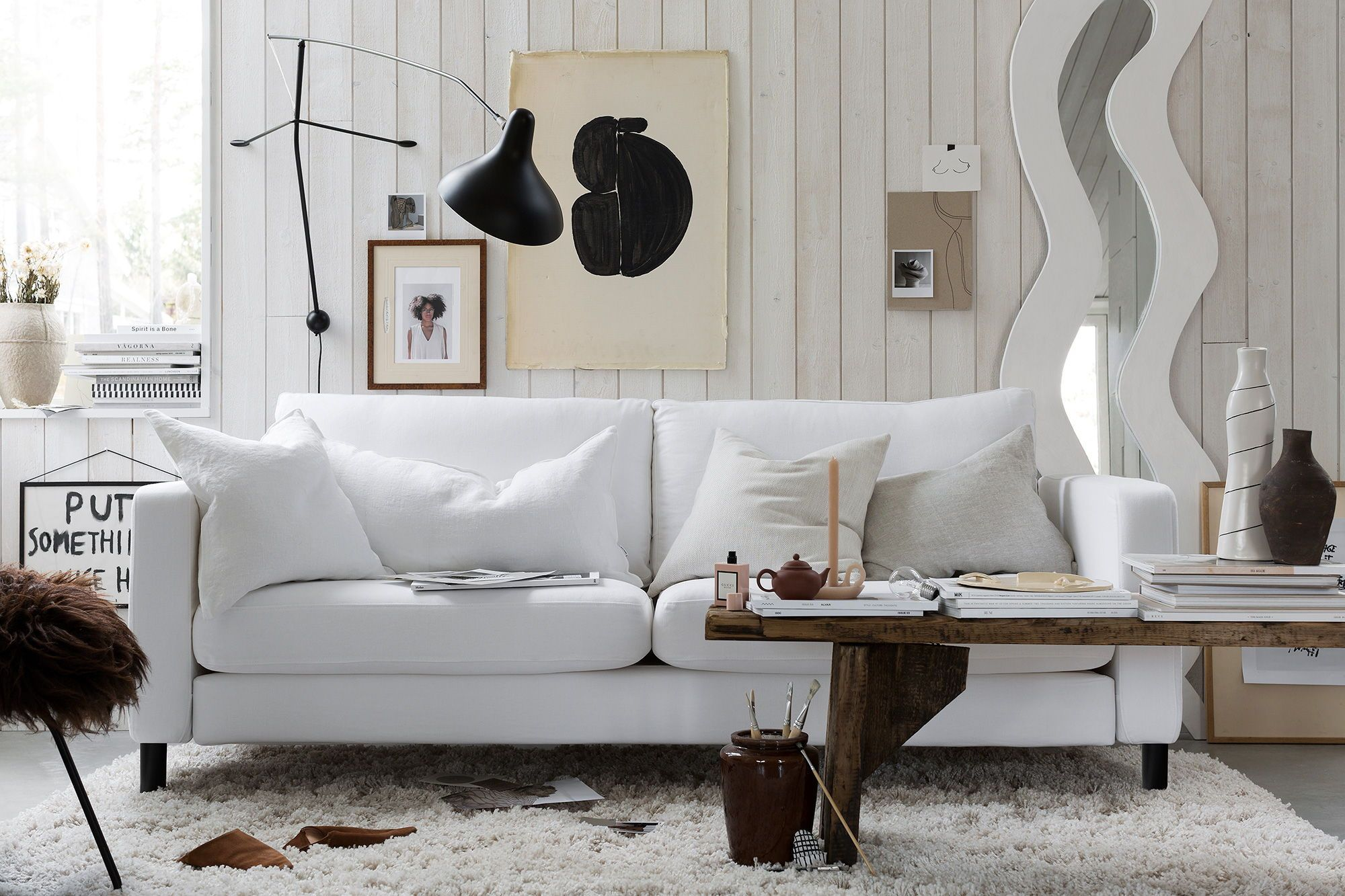 Scandinavian Minimalistic Inspired Design Industrial Chic White Linen Sofa Brown Accent Colors Soft Shades And T Ikea Karlstad Karlstad Affordable Sofa