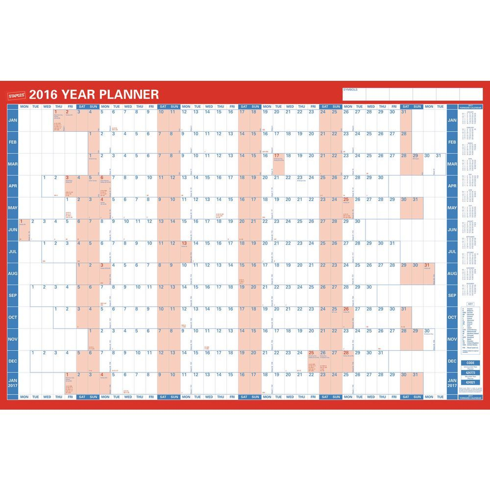 Staples 13 Month Mounted Wallplanner For 2016 Staples Co Uk