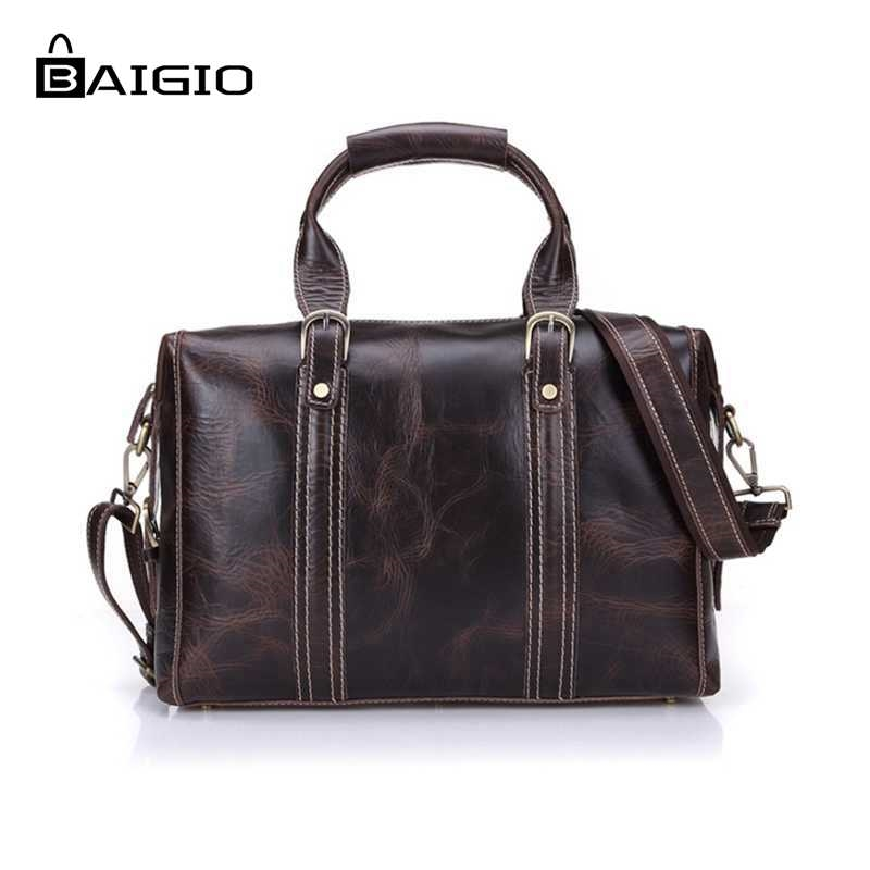 84.66$  Watch here - http://alie3h.worldwells.pw/go.php?t=32529971954 - Baigio 2017 Men Leather Bag Travel Vintage Style Brown Overnight Tote Duffle  Crossbody Multifunctional  Luggage Men Travel Bag 84.66$