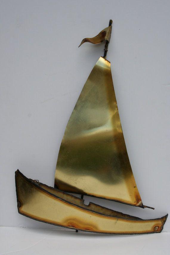 Vintage Metal Sailboat Sail Boat Wall Hanging Nautical Wall Sculpture Metal Art Welded Metal Art Vintage Metal