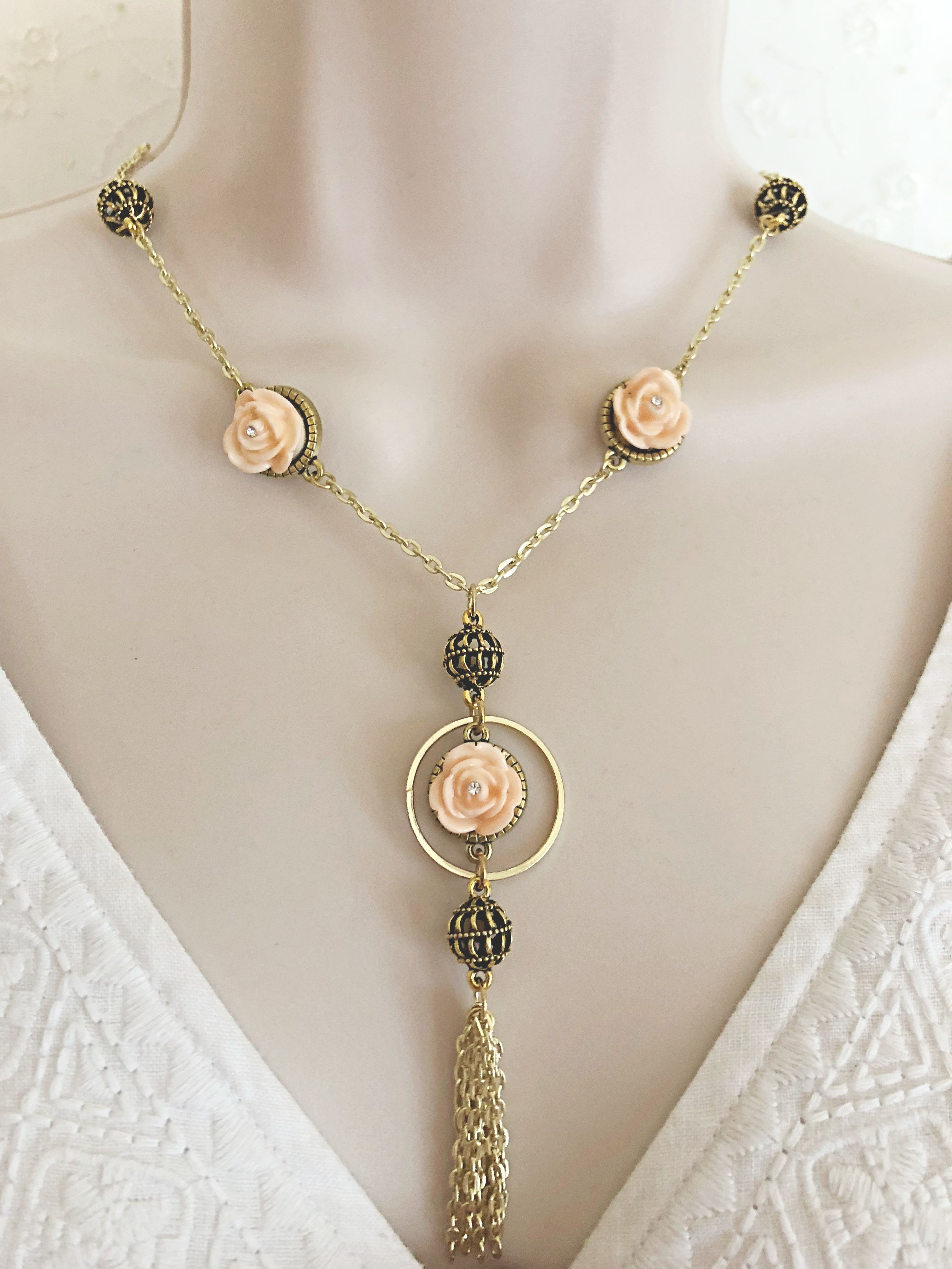 Flower tassel necklace and earring set brass necklace set brass