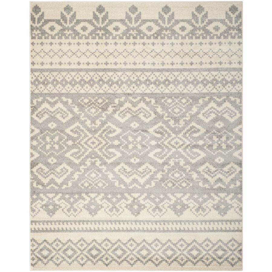 Safavieh Adirondack Taos Ivory Silver Rectangular Indoor Machine Made Lodge Area Rug Common 10 X 14 Actual Southwestern Area Rugs Silver Area Rug Silver Rug