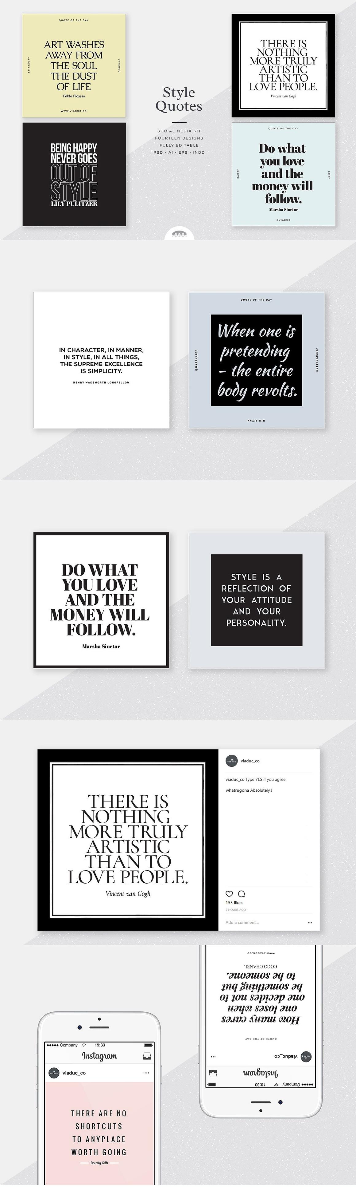 Style Quotes Social Media Kit Templates Psd Eps Social Media