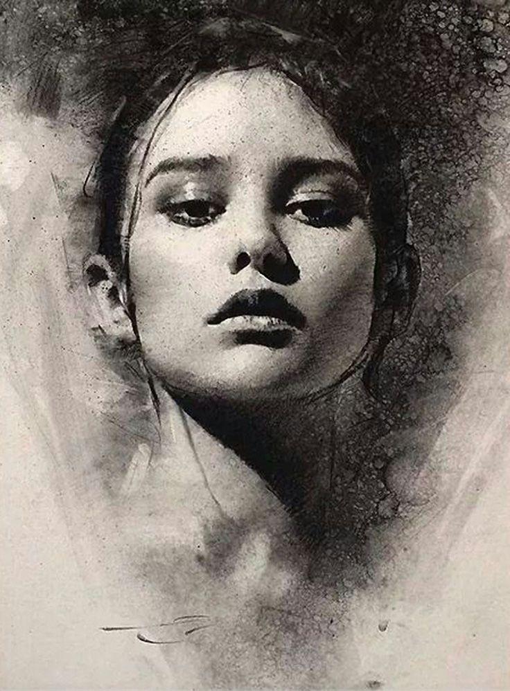 Casey Baugh (b. 1984), beautiful female portrait charcoal ...