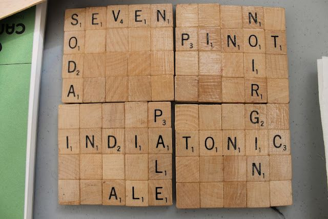 DIY scrabble coasters - I like these so much more than the ones that end up with words going horizontally, and jumbled letters vertically.