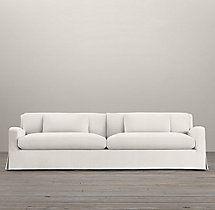 7u0027 Belgian Slope Arm Slipcovered Two Seat Cushion Sofa