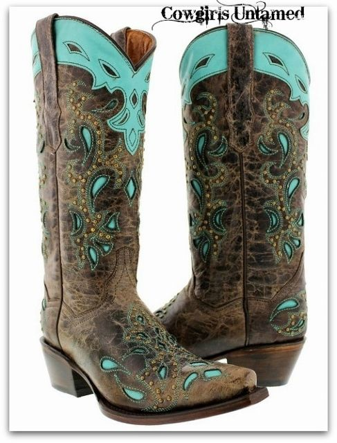 Kid/'s Girls Genuine Leather Cowboy Western Rodeo Boots Brown Turquoise