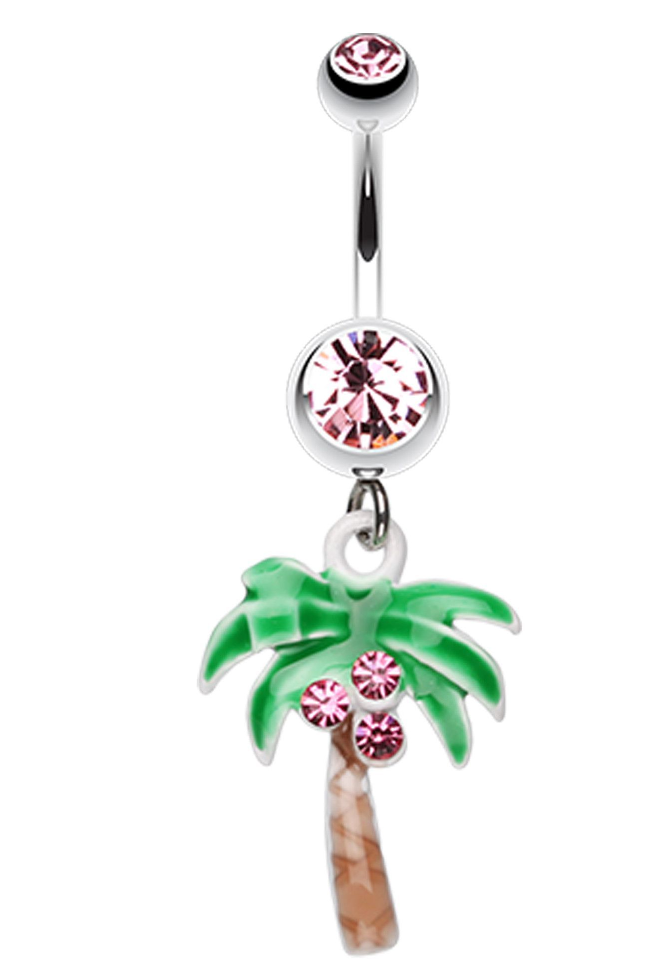Jeweled Palm Tree Dangle Belly Button Ring 14 Ga 1 6mm Aqua