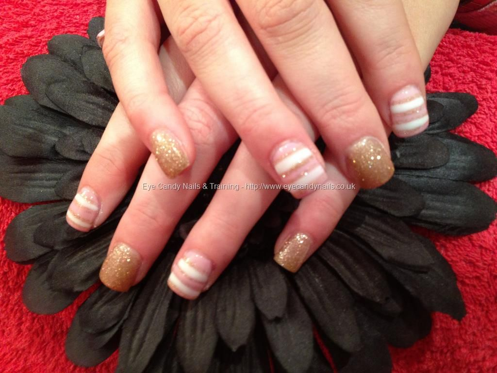 Acrylic Nails With White Pink And Gold Nail Art Acrylic Nails With White Pink And Gold Nail Art Gold Nail Art Nail Art Designs Acrylic Nail Art