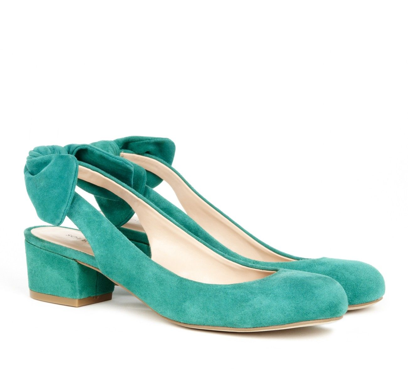 Bow Slingback Shoes in Green Suede.
