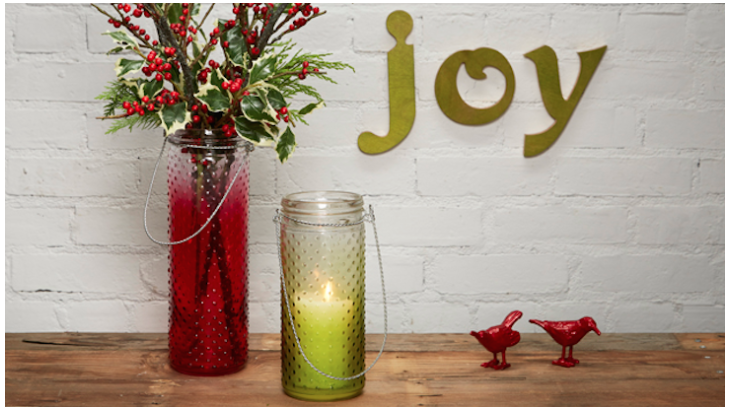 Upcycle plain hobnail jars into holiday decor with TintIT spray dye.
