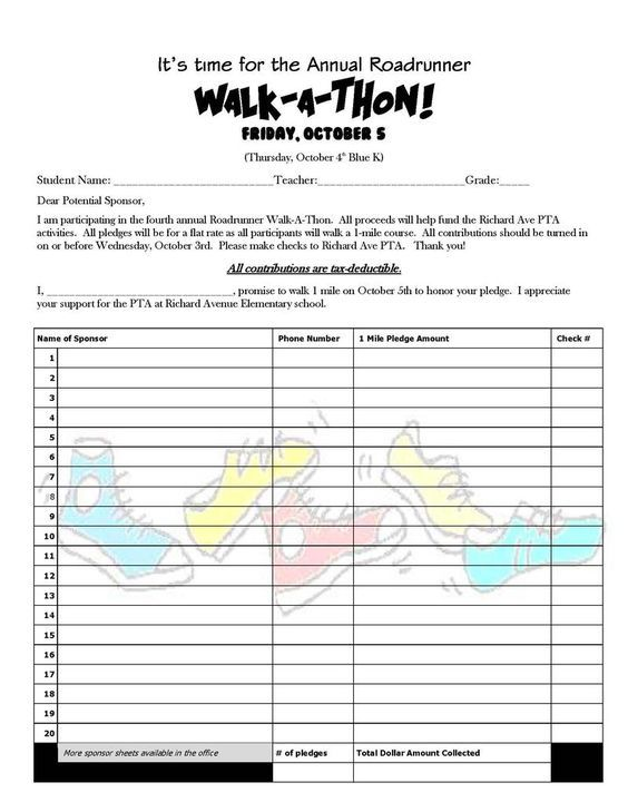 Walk A Thon Pledge Form 2012jpg (800×1035) PTA Events Pinterest - pledge form