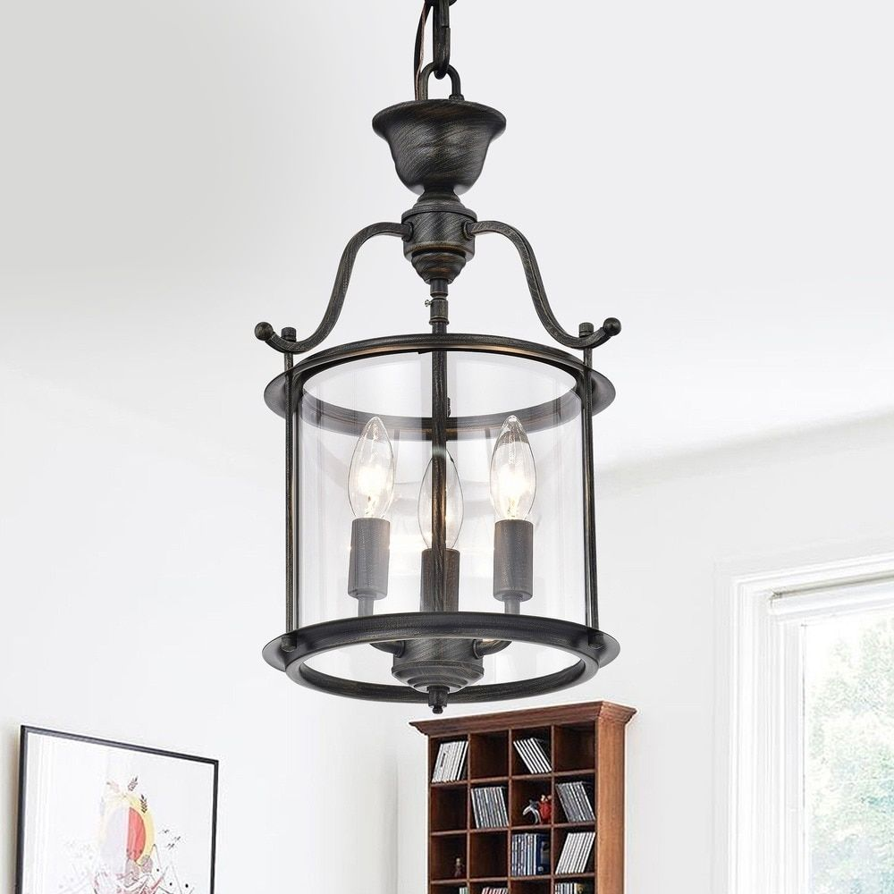Overstock Pendant Lights Extraordinary Carlota 3Light Clear Glass Foyer Pendant Chandelier  Overstock Inspiration Design