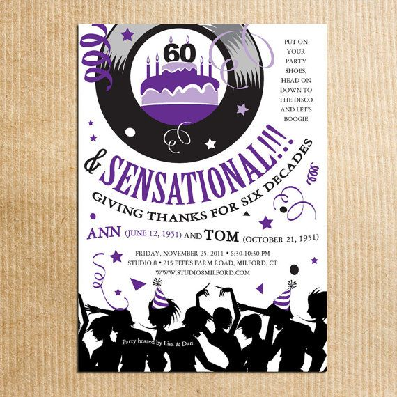 Some Good Wording 70s Party Birthday Invitations Retro By