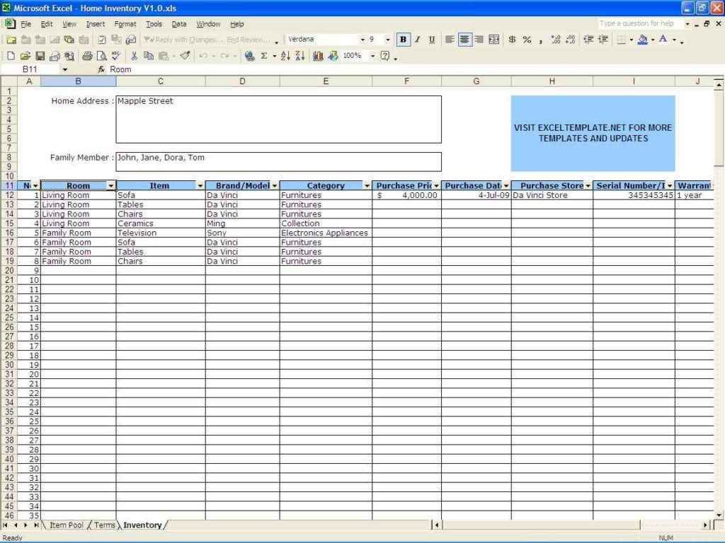 Small Business Inventory Spreadsheet Template Template