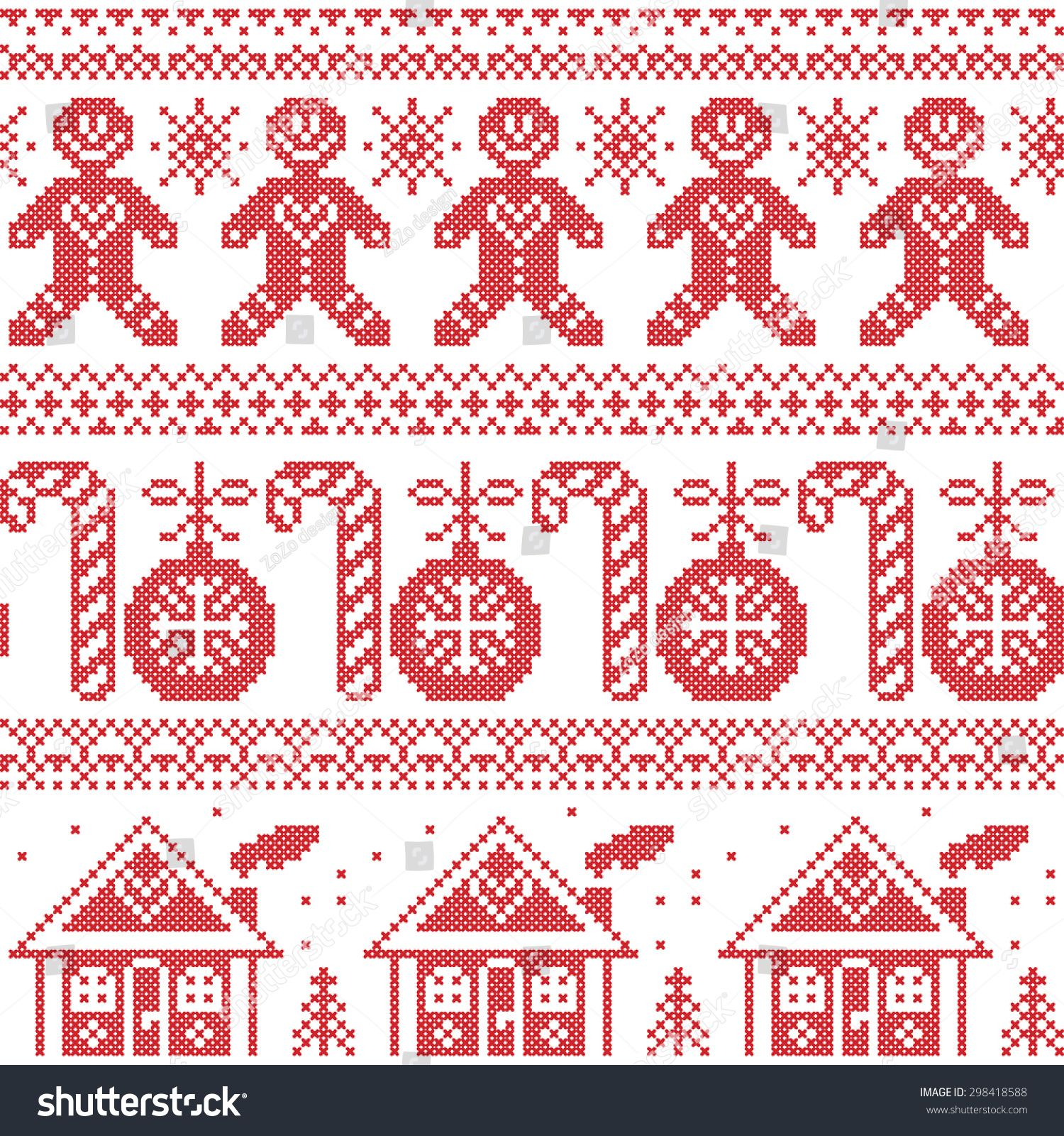 Vector Scandinavian Nordic Seamless Pattern With Ginger Bread Man, Candy,