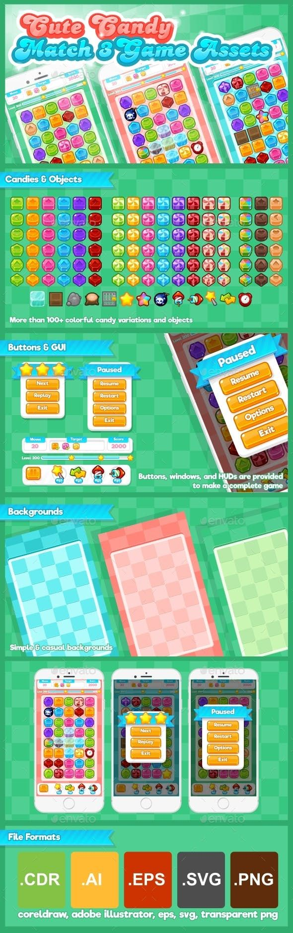 Cute Candy Match Three Game Assets Game Kits Game