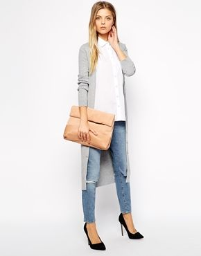 large suede roll top bag