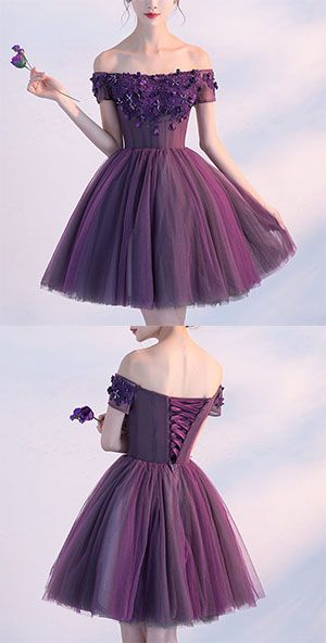Cute A line Dark Purple Homecoming Dresses,Off-shoulder Short Prom Dress,Sexy Appliqued Homecoming Dress,Short Prom Gown with Beads
