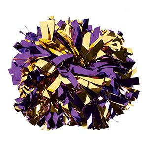 In Stock Metallic Gold And Purple Baton Handle Pom By Cheerleading Company