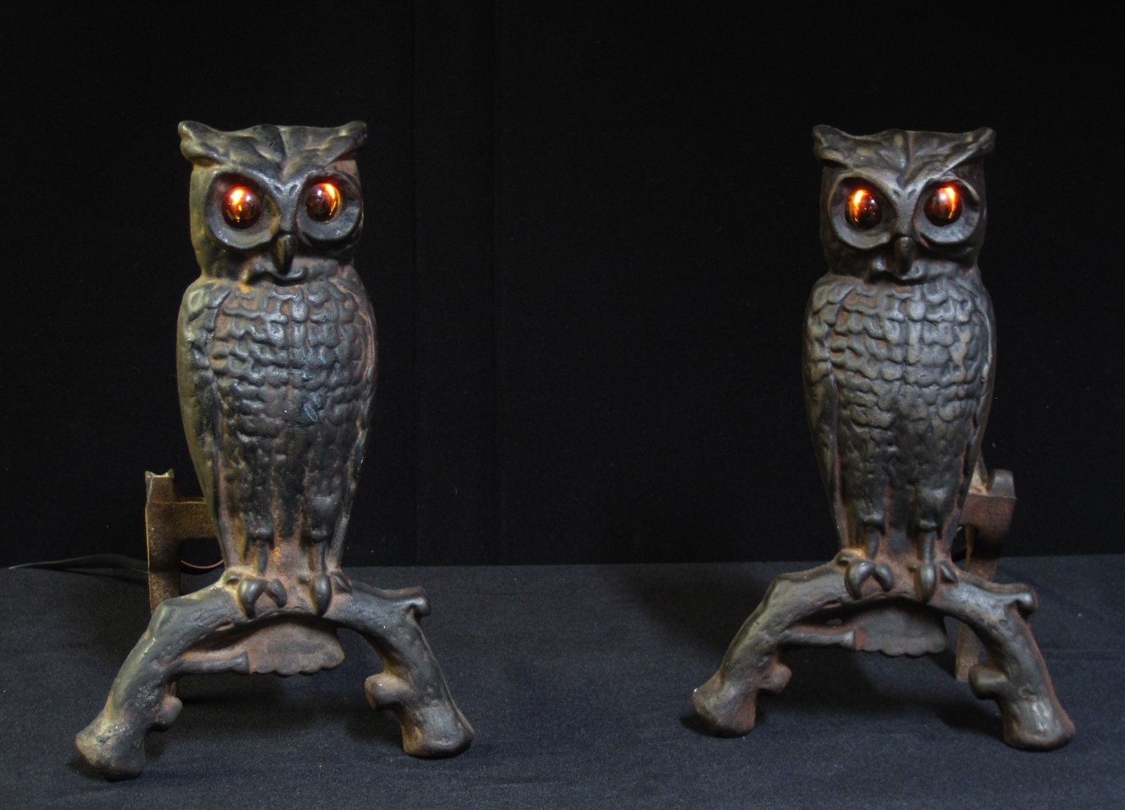 antique owl andirons amber glass eyes cast iron flame flicker