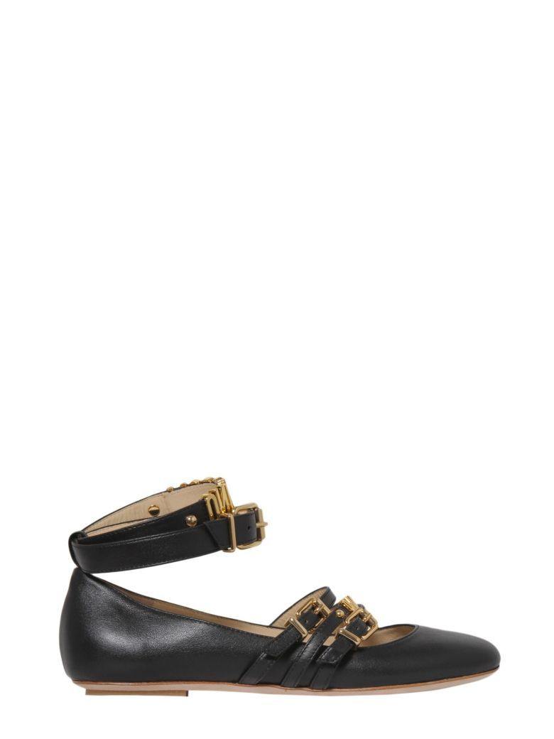 Moschino Leather Buckle Flats cheap sale sast outlet store for sale 2014 new discount cheapest price ngj1e4