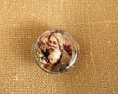 Glass Magnet Vintage Victorian Santa Claus Christmas Picture Magnet Gifts Under 5.00