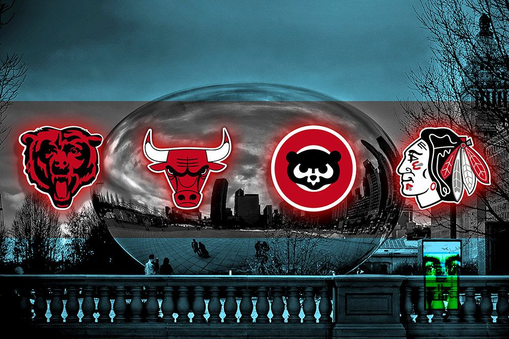 Chicago Sports Art Chicago Teams In Front Of Cloud Gate Chicago Flag Chicago Bears Chicago Bulls C Chicago Sports Teams Chicago Sports Art Chicago Sports