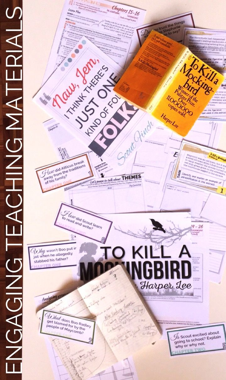 To Kill A Mockingbird Lesson Plans Worksheets Answer Keys Posters Task Cards And More Teaching Inspiration Teacher Material To Kill A Mockingbird
