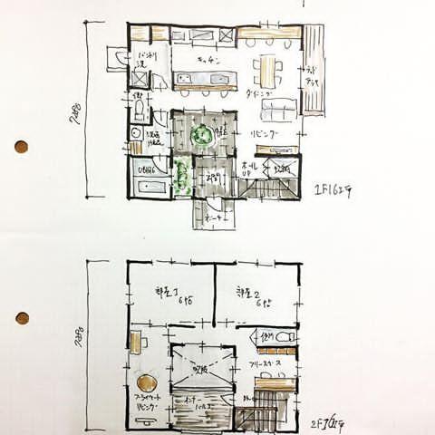 32坪の間取り 3帖の中庭付 Ldk 家事室兼パントリー 坪庭が眺められる
