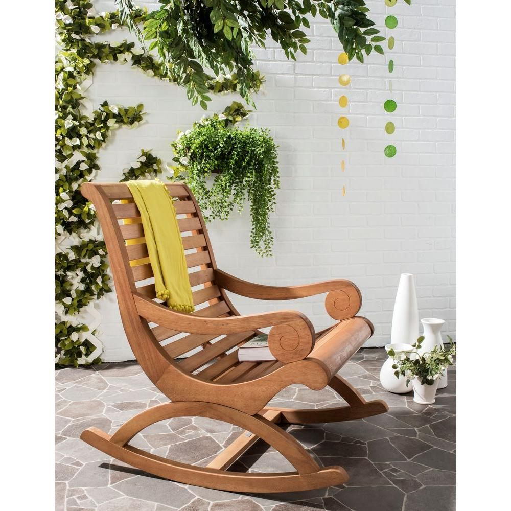 Phenomenal Safavieh Sonora Teak Brown Outdoor Patio Rocking Chair Gmtry Best Dining Table And Chair Ideas Images Gmtryco