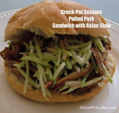 Crock-Pot Sesame Pulled Pork Sandwich with Asian Slaw