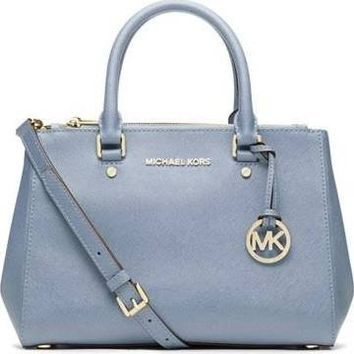 2349851ac283 Michael Kors Sutton Small Saffiano Leather Satchel in PALE BLUE ...