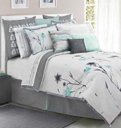 Teal And Grey Floral Bedding For Spare Bedroom One Day Remodel