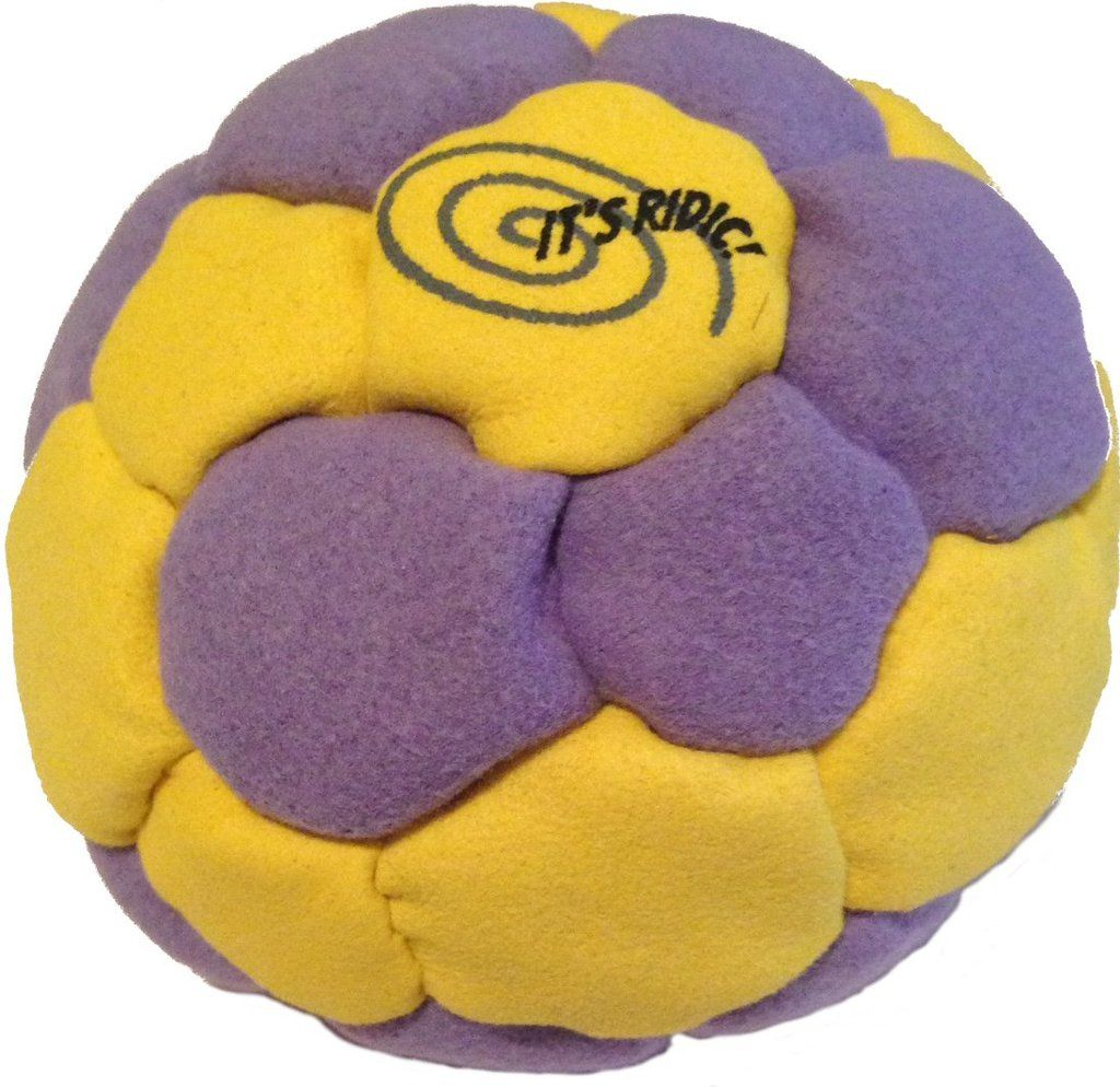 Pellet filled Hacky Sack and footbag with 32 panels