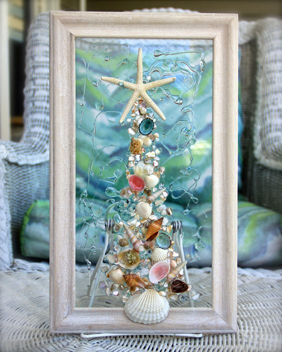 Seashell Christmas Tree Wall Hanging For Christmas At The Beach Beach Theme Christmas Tree Glass Art Shell Art Seashell Crafts Beachy Christmas Seashell Art