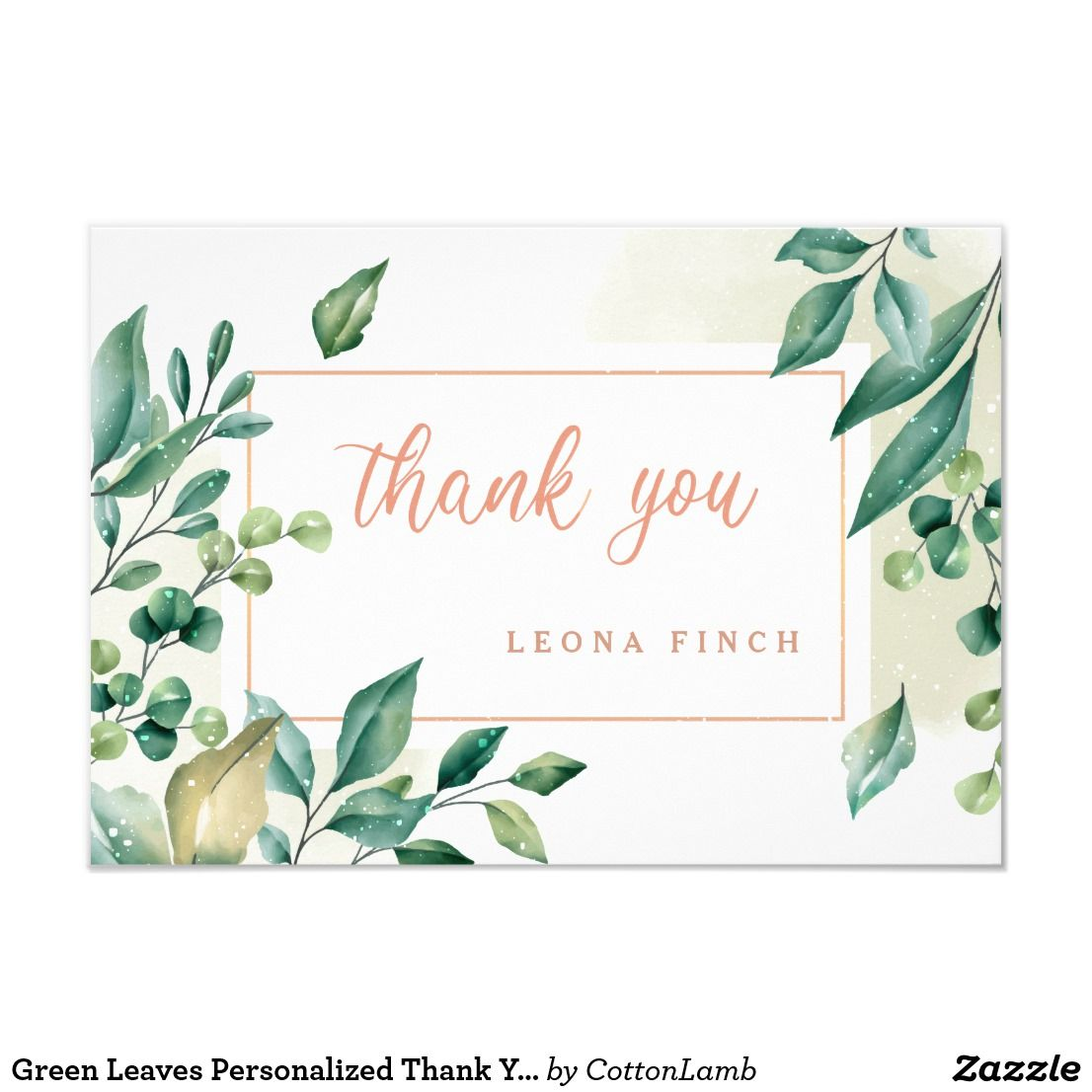 green leaves personalized thank you card  zazzle